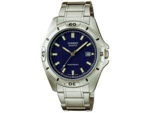 Casio Men's MTP1244D-2A Silver Stainless-Steel Quartz Watch with Blue Dial