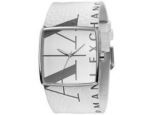 Armani Exchange Women's AX6000 White Leather Quartz Watch with White Dial