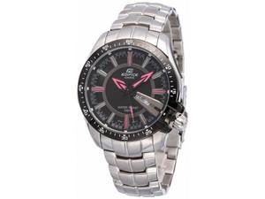 Casio Men's Edifice EF130D-1A4V Silver Stainless-Steel Quartz Watch with Black Dial