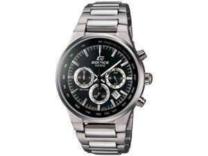 Casio Men's Edifice EF544D-1AV Silver Stainless-Steel Quartz Watch with White Dial
