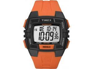 Timex T49902 Men's Chrono Alarm Timer Orange Resin Quartz Watch with Digital Dial