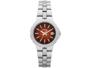 Fossil Women's Sylvia AM4406 Silver Stainless-Steel Quartz Watch with Orange Dial