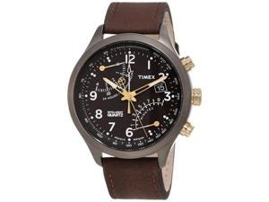 Timex T2N931 Men's Intelligent Quartz Brown Calf Skin Quartz Watch with Black Dial