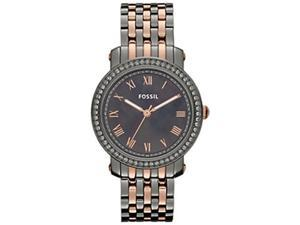 Fossil Women's Emma ES3115 Two-Tone Stainless-Steel Quartz Watch with Black Dial