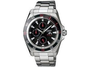 Casio Men's Edifice EFB300D-1AV Silver Stainless-Steel Quartz Watch with Black Dial