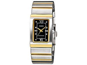Casio Women's LTP1356SG-1A Two-Tone Stainless-Steel Quartz Watch with Black Dial