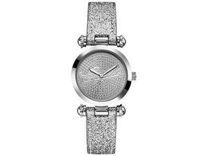 Guess Women's U0057L1 Silver Leather Quartz Watch with Silver Dial