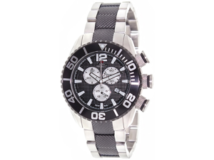 Swiss Precimax SP12163 Men's Deep Blue Pro II Black Stainless-Steel Chronograph Watch with Black Dial