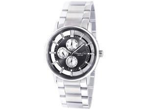 Kenneth Cole Men's Transparent KC9115 Silver Stainless-Steel Quartz Watch with Black Dial