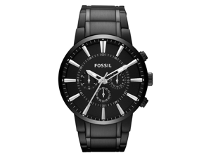 Fossil Men's FS4778 Black Stainless-Steel Quartz Watch with Black Dial