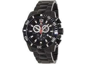 Swiss Precimax SP13252 Crew Pro Men's Black Dial Stainless Steel Chronograph Watch