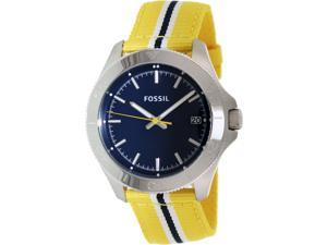 Fossil Men's Retro Traveler AM4477 Two-Tone Nylon Quartz Watch with Blue Dial