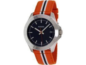 Fossil Men's Retro Traveler AM4478 Two-Tone Nylon Quartz Watch with Blue Dial