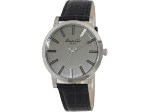 Kenneth Cole Men's Classic KC1931 Black Leather Quartz Watch with Grey Dial