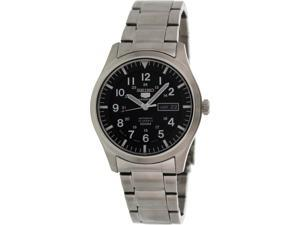 Seiko Men's 5 Automatic SNZG13K Silver Stainless-Steel Automatic Watch with Black Dial