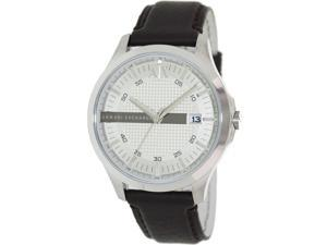 Armani Exchange Men's AX2100 Brown Leather Quartz Watch with Silver Dial