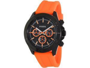 Fossil Men's Retro Traveler CH2873 Orange Silicone Analog Quartz Watch with Black Dial