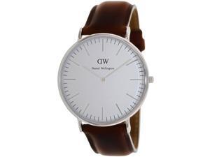 Daniel Wellington DW1002 Men's Classic St. Andrews Brown Leather Quartz Watch with White Dial