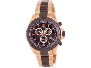 Swiss Precimax SP12198 Men's Maritime Pro Two-Tone Stainless-Steel Swiss Chronograph Watch with Black Dial