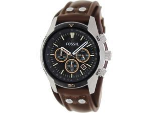 Fossil Men's Coachman CH2891 Brown Leather Quartz Watch with Black Dial
