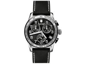 Victorinox Swiss Army Men's Chrono Classic 241404 Black Calf Skin Swiss Quartz Watch with Black Dial