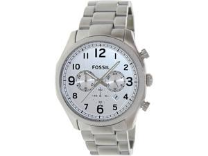 Fossil Men's Foreman FS4861 Silver Stainless-Steel Quartz Watch with Silver Dial