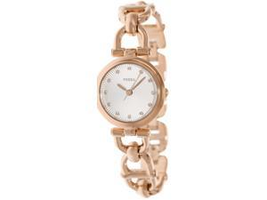 Fossil Women's Olive ES3350 Rose-Gold Stainless-Steel Quartz Watch with Silver Dial
