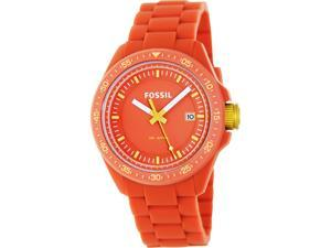 Fossil Men's Decker AM4504 Orange Silicone Quartz Watch with Orange Dial