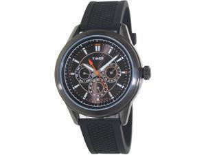 Timex Mens Multifunction T2P179 Black Resin Analog Quartz Watch with Black Dial