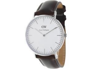 Daniel Wellington 0611DW Men's Bristol Brown Leather Quartz Watch with Silver Dial