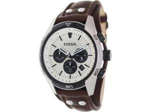 Fossil Men's Coachman CH2890 Brown Leather Quartz Watch with Beige Dial
