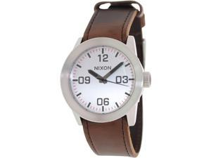 Nixon Men's Private A0491113 Brown Leather Quartz Watch with Silver Dial