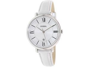 Fossil Women's Jacqueline ES3436 Silver Leather Quartz Watch with Silver Dial