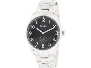 Fossil Men's Agent FS4852 Silver Stainless-Steel Quartz Watch with Black Dial