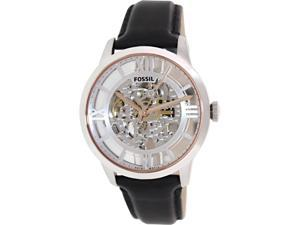 Fossil Men's Townsman ME3041 Black Leather Automatic Watch with Silver Dial