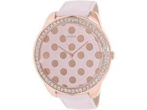 Guess Women's U0258L3 Pink Leather Quartz Watch with Rose-Gold Dial