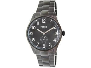 Fossil Men's Agent FS4854 Black Stainless-Steel Quartz Watch with Black Dial