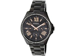 Fossil Women's Cecile AM4522 Black Stainless-Steel Quartz Watch with Gold Dial