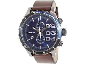 Diesel Mens Double Down DZ4312 Brown Leather Quartz Watch with Blue Dial