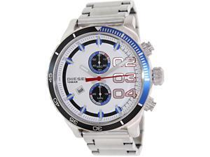 Diesel Mens Double Down 48 DZ4313 Silver Stainless-Steel Quartz Watch with White Dial