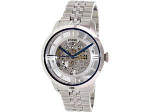 Fossil ME3044 Men's Townsman Silver Stainless-Steel Automatic Watch with Silver Dial