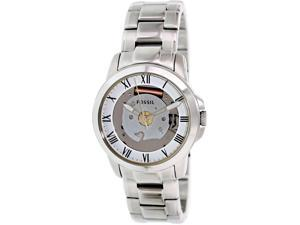 Fossil Men's Grant FS4871 Silver Stainless-Steel Quartz Watch with Silver Dial