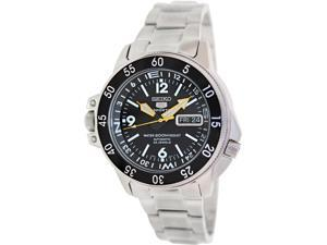 Seiko Men's 5 Automatic SKZ211K Silver Stainless-Steel Automatic Watch with Black Dial