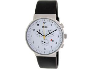 Braun Men's BN0035WHBKG Black Leather Quartz Watch with White Dial