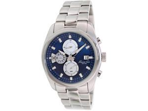 Kenneth Cole Men's KC9360 Silver Stainless-Steel Quartz Watch with Blue Dial