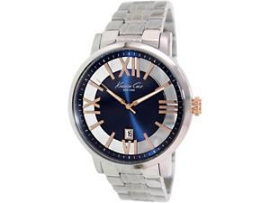 Kenneth Cole Men's KC9340 Silver Stainless-Steel Quartz Watch with Blue Dial