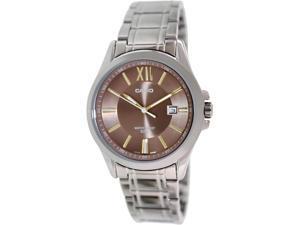 Casio Men's MTPE103D-5AV Silver Stainless-Steel Quartz Watch with Green Dial
