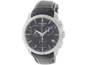 Tissot Men's Couturier T035.439.16.051.00 Black Leather Quartz Watch with Black Dial