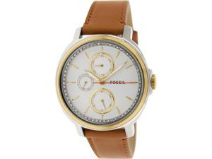Fossil Women's Chelsey ES3523 Brown Leather Quartz Watch with Silver Dial