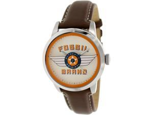 Fossil Men's Townsman FS4896 Brown Leather Quartz Watch with White Dial